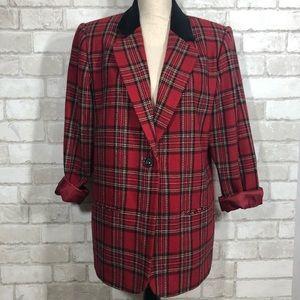 Vtg Plaid Oversized Long Velvet Collar Blazer